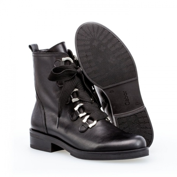 Gabor Halkirk Lace Up Leather Biker Boots In Black