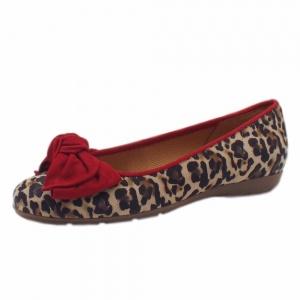 Gabor Redshank Modern Leather Ballet Pumps in Red Leopard