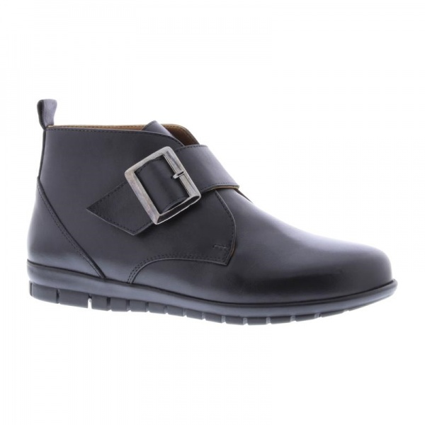 Adesso Hattie Black Ankle Boot Buckle leather wide fit