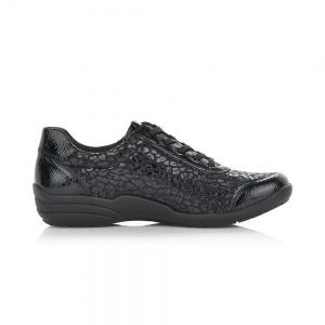 Remonte Ladies Black Zip Casual Shoe R7637-02