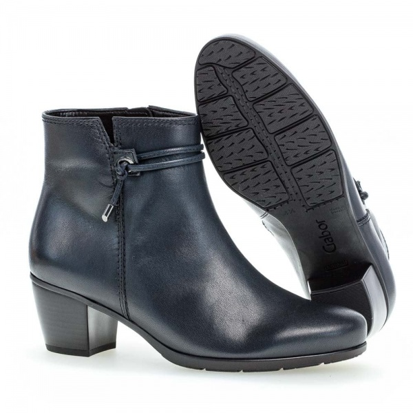 Gabor Ela Soft Leather Ankle Boots Navy Leather