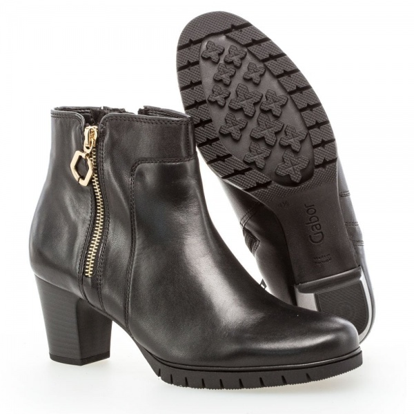 Gabor Hero Modern Wide Fit Ankle Boots Black Leather