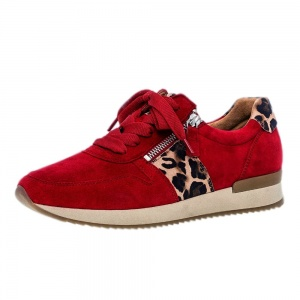 Gabor Lulea Lace Up Leather Sneakers in Red Leopard
