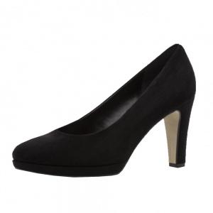 Gabor Splendid Classic Mid Heel Court Shoes in Black Suede