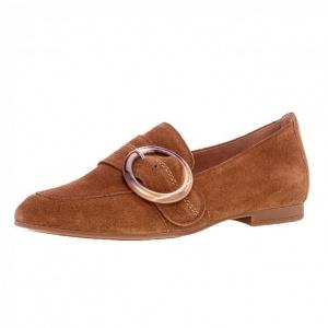 Gabor Viola Smart Suede Loafer Shoes in Cognac