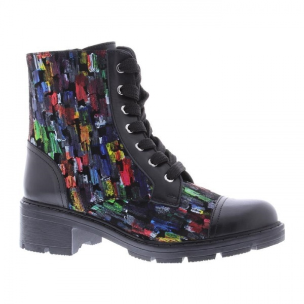 Adesso Lydia Ankle Boot Paintbrush Military Style Leather