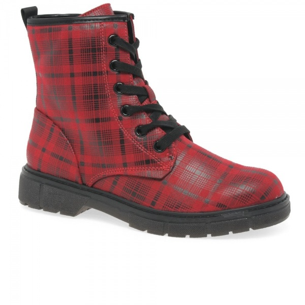 Marco Tozzi Mimms Womens Ankle Boots Textile Tartan