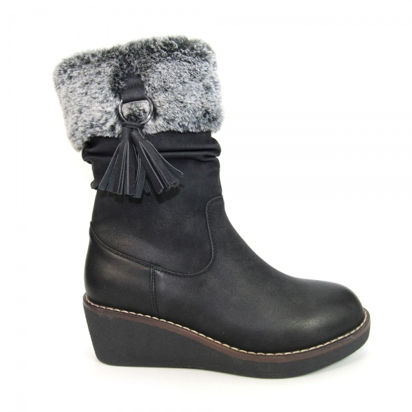 Lunar Webb Wedge Boot Leather Textile