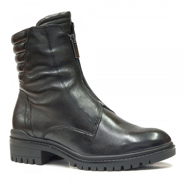 Caprice Black Combi Zip-Up Ankle Boots