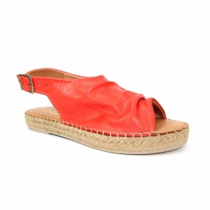 Lunar Ana Red Leather Espadrille