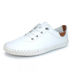 Lunar St Ives White Leather Plimsoll