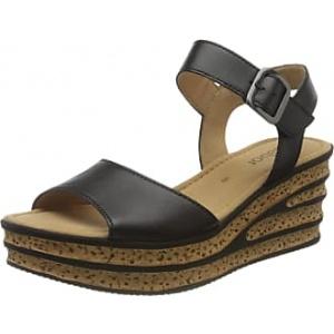 GABOR Twirl Black Wedge Womens Sandals