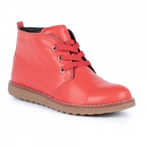 Lunar Claire Lace Up Leather Boot Red