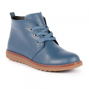 Lunar Claire Lace Up Leather Boot Blue